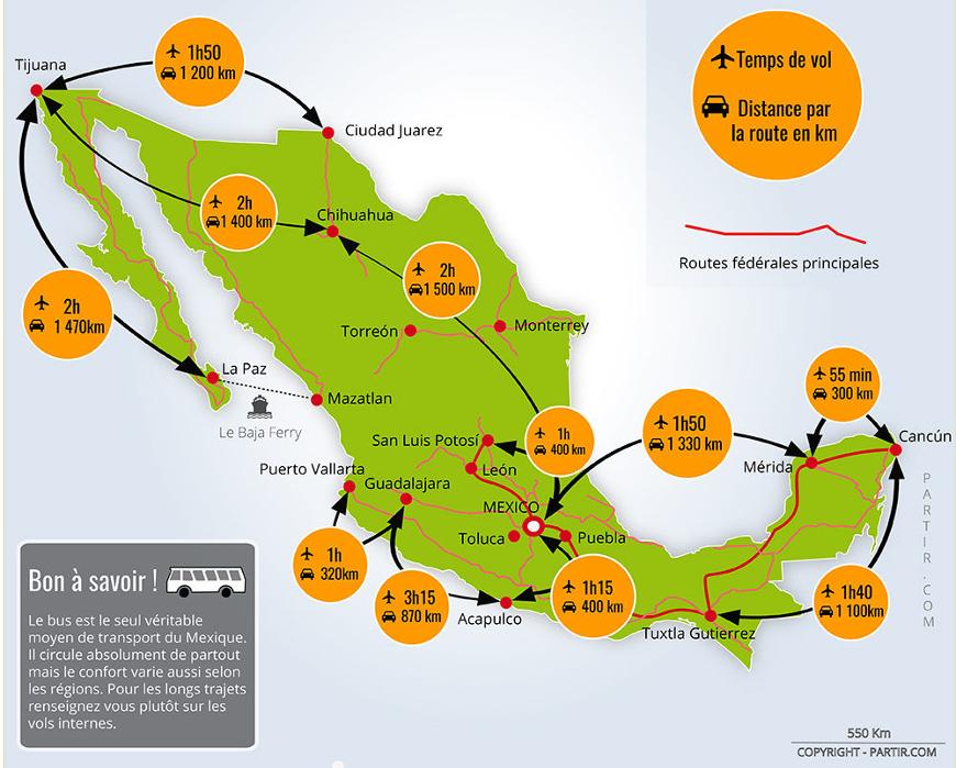 carte du mexique et de ses itinéraires