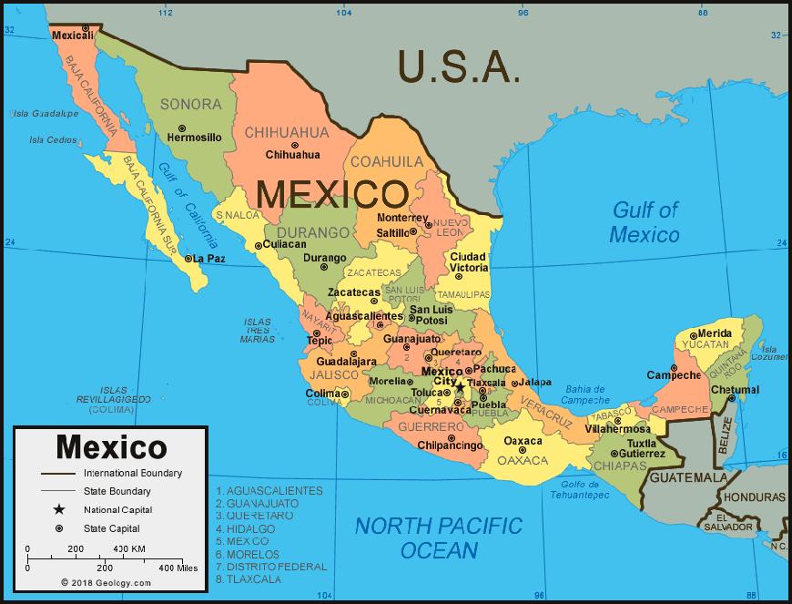 carte mexique, de ses régions et grandes villes