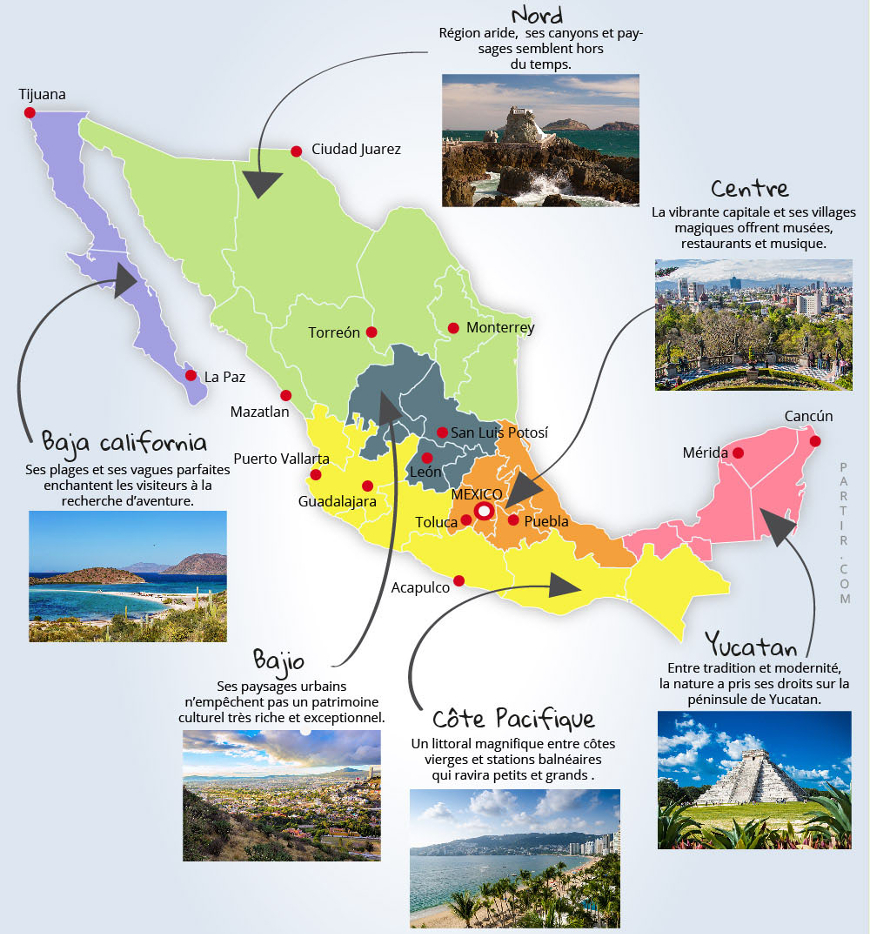 carte des principaux sites touristiques du mexique