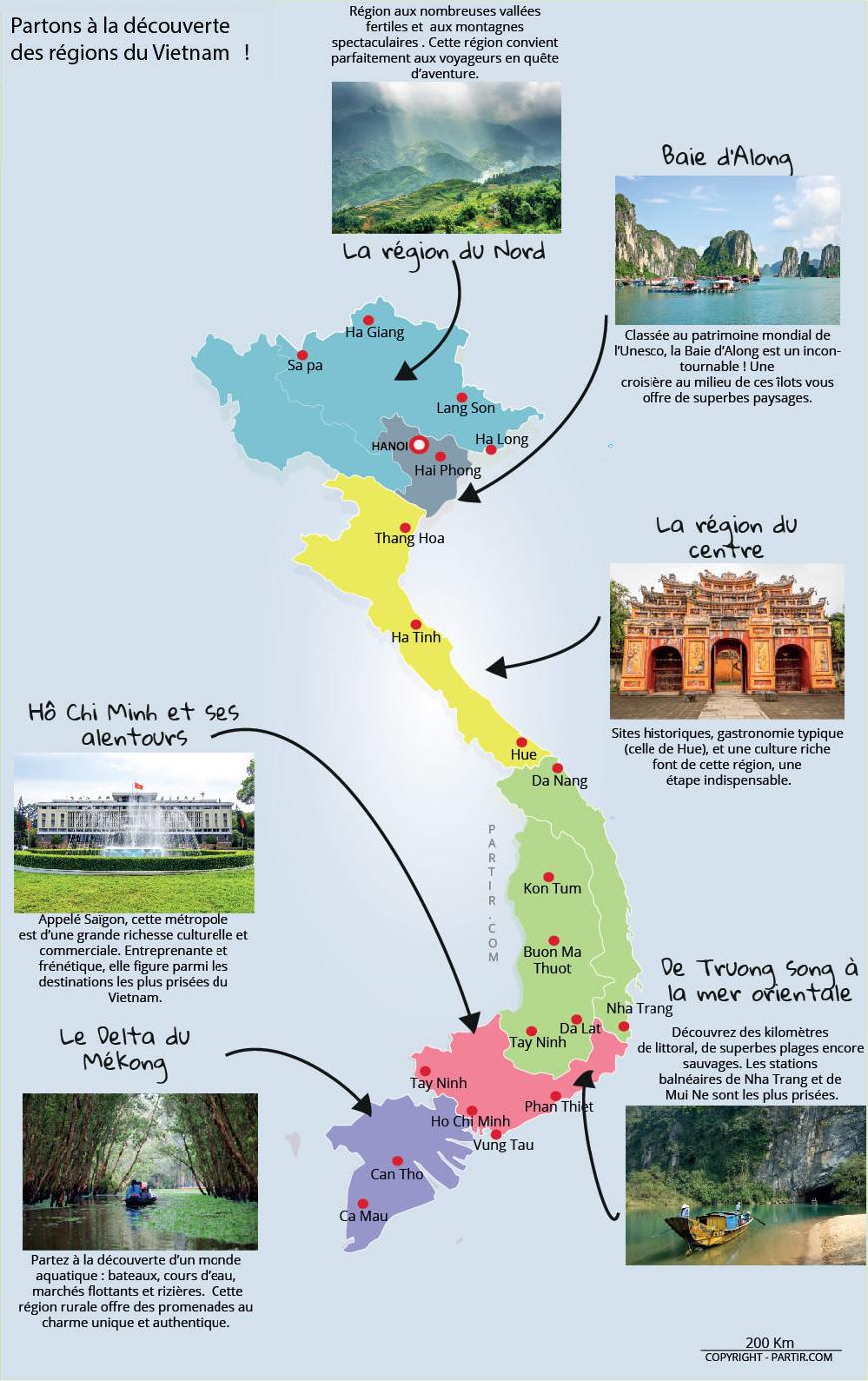 carte du vietnam et de ses régions touristiques